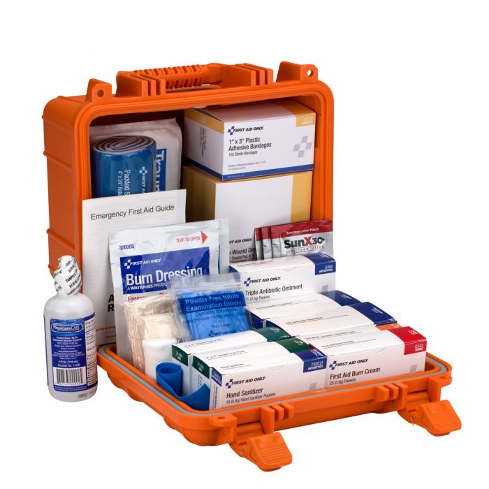 24 Unit First Aid Kit, ANSI B,  Waterproof Case