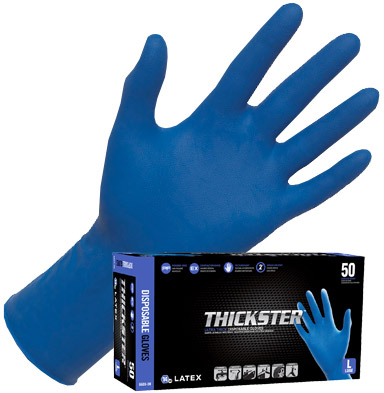 Thickster Latex Disposable Gloves (Powder Free), Large, Case of 20 boxes