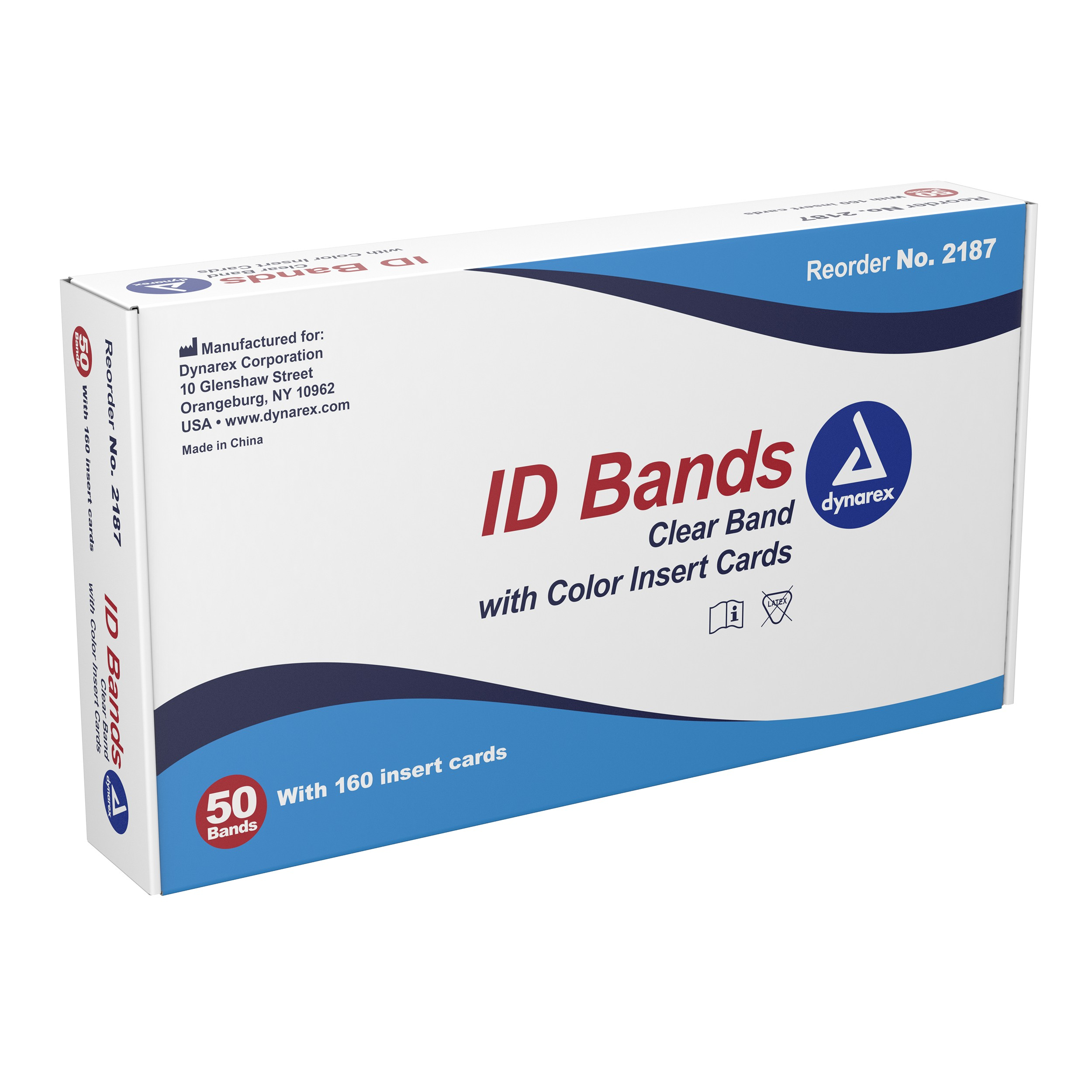 ID Bands, Clear Band w Color Card Insert, 5/50 cs