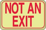 No Exit Shield Sign (Red on Lumi-Glow Plastic)