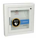 AED Wall Cabinet with Alarm - Semi-Recessed, Rolled Edges, 3