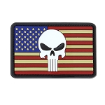 Punisher Us Flag Pvc Patch (6Pcs/Pack), Rwb