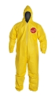 DuPont Tychem QC127S Disposable Coverall with Hood, Elastic Cuff, Yellow, Large