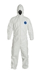 DuPont™ Large White Tyvek® 400 5.9 mil Disposable Coveralls With Attached Hood, Elastic Wrist And Ankles