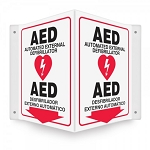 Bilingual Projection Sign: Automated External Defibrillator 3D or 90D