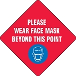 Slip-Gard™ Floor Sign: Please Wear Face Mask Beyond This Point