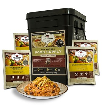 1 Week of Wise Freeze Dried Emergency Food and Drink Storage for 1 Person - 52 Servings