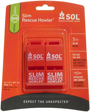 SOL SLIM Rescue Howler Whistle, Pkg./2