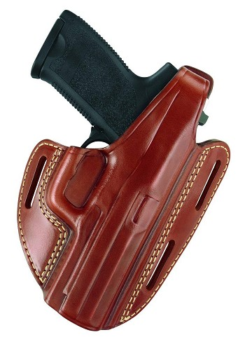 Gold Line Three Slot Pancake Holster Chestnut Brown