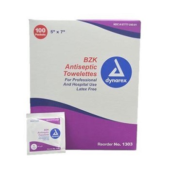 "BZK Antiseptic Towelettes, 5"" x 7"", Box of 100"