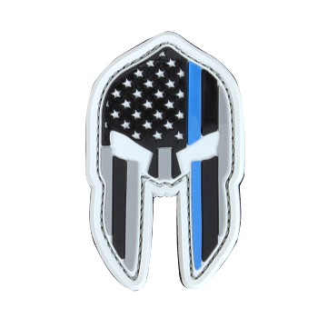 Spartan Helmet Pvc Patch (6Pcs/Pack), Thin Blue Line