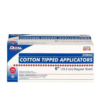 "Cotton-Tipped Applicator (6"", Sterile) - 100/Box"