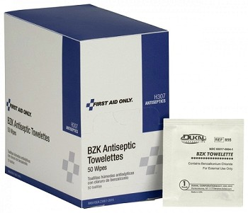 "BZK Antiseptic Towelette (4 3/4"" x 7 3/4"") - 50 per Dispenser Box"
