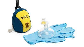 Pediatric Pocket Mask w/Gloves and Wipe in Blue/Yellow Soft Pack - 10 PK