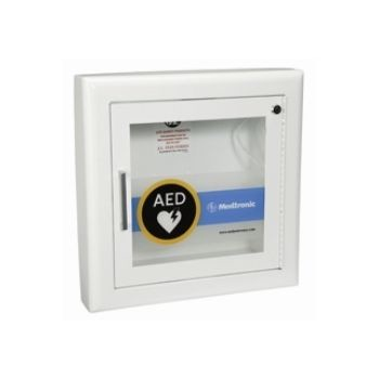 "AED Wall Cabinet with Alarm - Semi-Recessed, Rolled Edges, 3"" return (Fire Rated)"