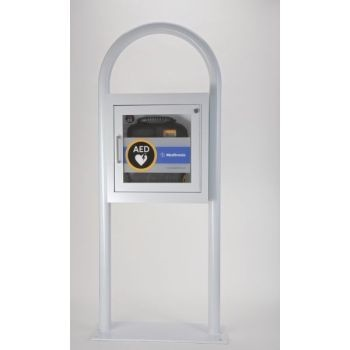 "AED Floor Stand Cabinet with Alarm - 52"" tall"