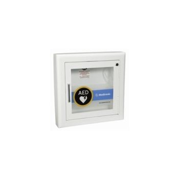 "AED Wall Cabinet with Alarm - Recessed, Rolled Edges, 1.5"" return"