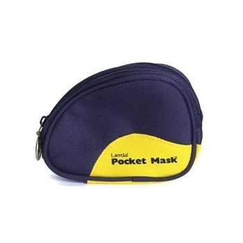 Laerdal Pocket Mask with Oxygen Inlet and Head Strap with Wipe in Blue Soft Pack