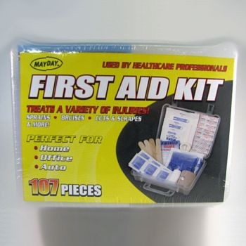107-Piece First Aid Kit in Plastic Case