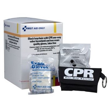 CPR Face Shield on Keychain with 2 gloves, BLACK 15 pack