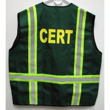 C.E.R.T. Safety Jacket Vest with Reflective Stripes and 6 Pockets