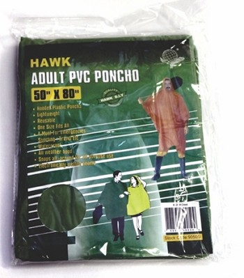 "Hawk Adult PVC Poncho 50"" x 80"""